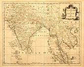Vintage map of India and Southeast Asia printed in in 1750. poster