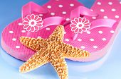 Star fish on pretty pink flip flops poster