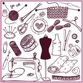 set icons sewing and needlework (doodle) poster