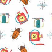 Harmful insects pattern. Cartoon illustration of harmful insects pattern for web poster