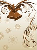vector greeting card with jingle bells in light brown color on floral decorative abstraction background for New Year, Christmas & other occasions. poster