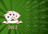 Vector European calendar with cards over green background poster