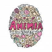 Creative anemia background with lettering in doodle style. Hand drawn vector illustration in black and pink colors on a white background. Iron-Rich Foods. Medical, healthcare and educational concept. poster