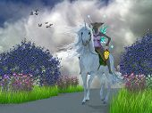 Fairy Lila with Unicorn 3D illustration - A fairy dressed in pink lavender rides a magical white unicorn through a foest of Jacaranda trees. poster