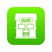 Western saloon icon digital green for any design isolated on white illustration poster