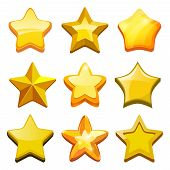 Game cartoon stars. Crystal golden gui buttons icons and status bar vector mobile gaming template. Star gui, game ui, gold interface glossy stars poster