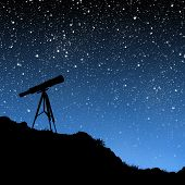 silhouette of a telescope under a night sky full of stars. poster