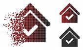 Valid house icon in fractured, dotted halftone and undamaged solid versions. Particles are composed into vector dispersed valid house icon. poster