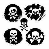 White piracy skull and crossbones vector icons. death, scary symbols and grunge decor illustration poster