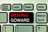 Conceptual hand writing showing Moving Goward. Business photo text Towards a Point Move on Going Ahead Further Advance Progress poster