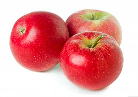 Three Ripe Apples Isolated On White Background