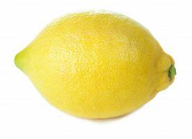 Whole Single Yellow Lemon Isolated On White Background