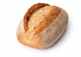 Single French Loaf Of Bread Isolated On White Background