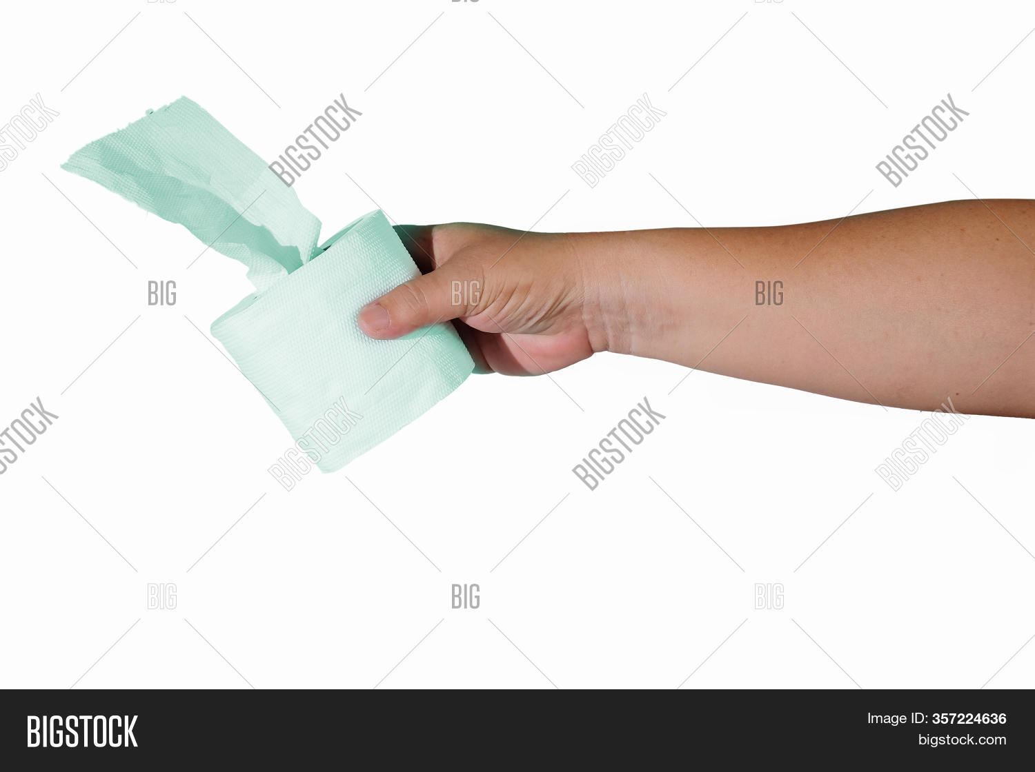Roll Of Toilet Papers In Hand With A Soft Color Background.