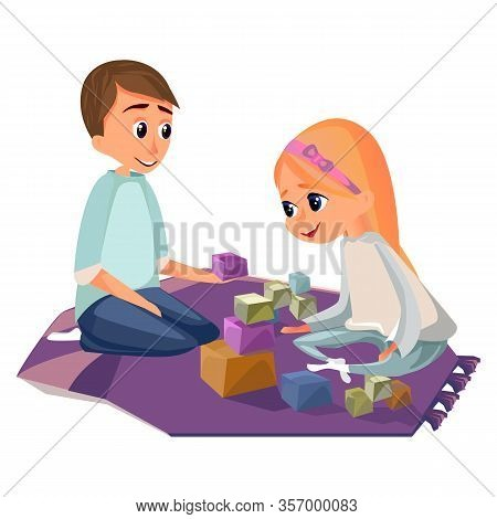 Cartoon Boy And Girl Play Wooden Building Blocks Vector Illustration. Brother Sister Sit On Floor. F