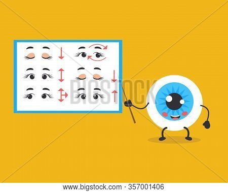 Cute Kawaii Eye. Set Of Exercises For The Eyes. Good Eyesight Vector Cartoon Style. Ophthalmology Co