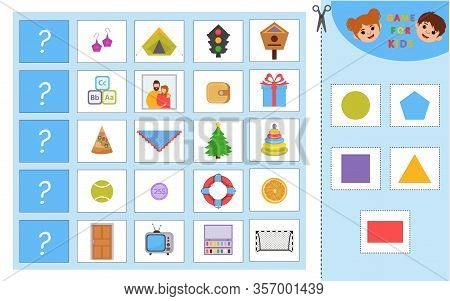 Educational Worksheet For Children. Game For Kids. Match Objects With Same Shape. Learning Geometric
