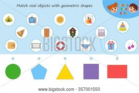 Educational Worksheet For Kids. Game For Kids. Match Parts Of Objects And Geometric Shapes. Triangle