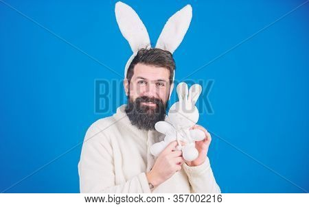 Respect For Traditions. Easter Bunny. Man Wearing Bunny Plush Suit. Funny Bunny Man With Beard And M