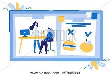 Dietician Doctor Giving Apple To Man Patient Flat Cartoon Vector Illustration. Healthy Meal Vs Fast
