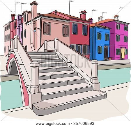 Colorful Facades Of Traditional Houses Along The Canal On The Island Burano. Venice. Italy.