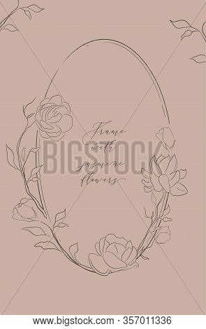 Line Drawing Vector Oval Floral Frame With Hand Drawn Jasmine Flowers, Plants, Branches, Herbs. Bota