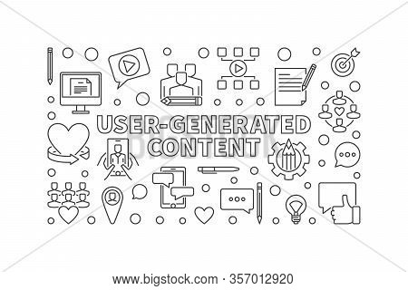 User-generated Content Linear Horizontal Banner. Vector Ugc Concept Thin Line Illustration