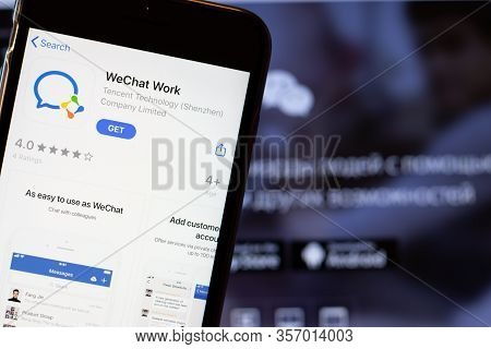 Los Angeles, California, Usa - 24 March 2020: Wechat Work App Logo On Phone Screen Close Up With Web