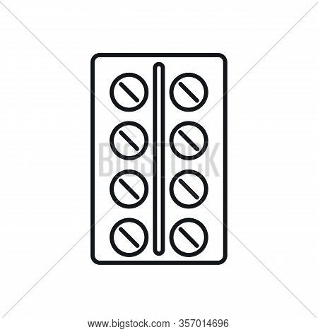 Blister With Pills Outline Icon. Vector Blister With Pills In Outline Style Isolated On White Backgr