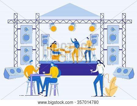 Rock Music Festival. Open Air Live Concert In Park Or Camp. Summertime Fun Outdoor Activity. Pop Mus