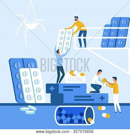 Medical People Staff, Distributors, Sales Agents Hold Big Drug Packages. Cartoon Capsules, Tablets I