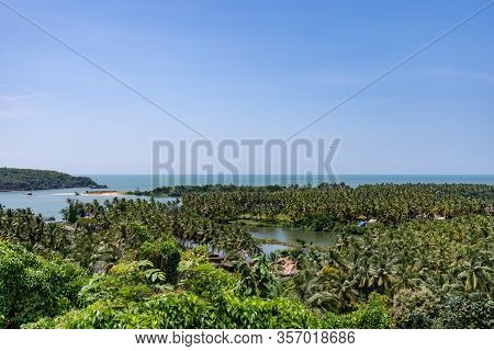 Aerial Panoramic View Over The Lush Rich Farm Lands And Backwaters Of Goa, India