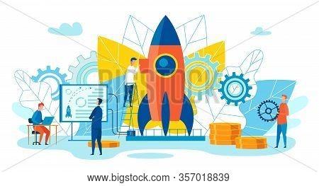 Team Metaphor Leadership Vector Illustration. Men Prepare Rocket For Launch Using Gears And Data Ana