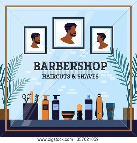 The Best Barbershop Haircuts And Shave Cartoon. On Wall Hang Pictures Men With Possible Haircuts. Vi