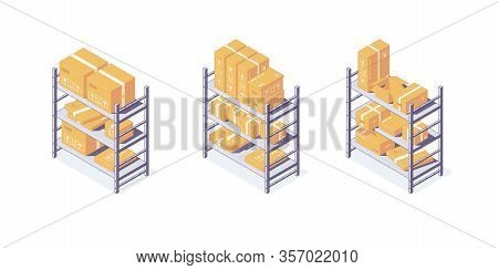 Isometric Warehouse Boxes Equipment Rack Pallets And Shelf. 3d Box Pallets Shelving Racking Vector I