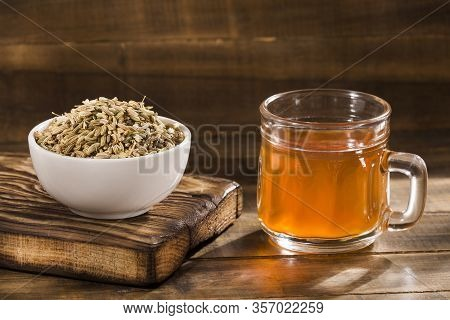 Herbal Infusion Fennel Tea In Glass Cup And Glass Tea