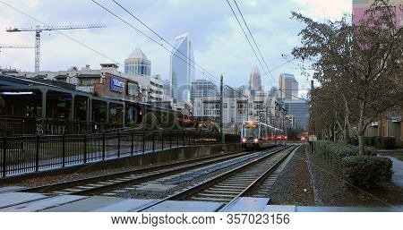 Charlotte, North Carolina/united States- January 10: A Rapid Transit Vehicle Approaching  On [januar