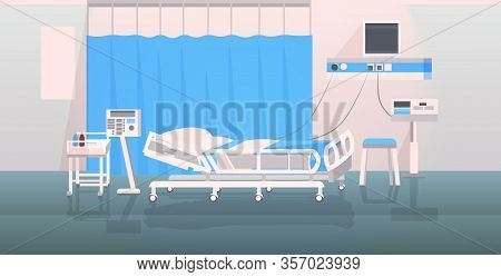 Hospital Operating Table And Medical Devices Modern Clinic Surgery Room Intensive Therapy Ward Inter