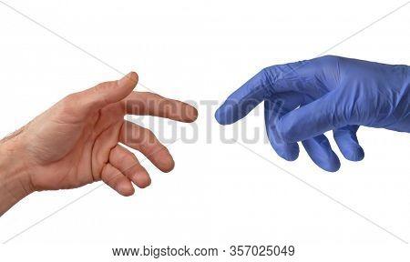 Virus disease emergency doctor giving hand.