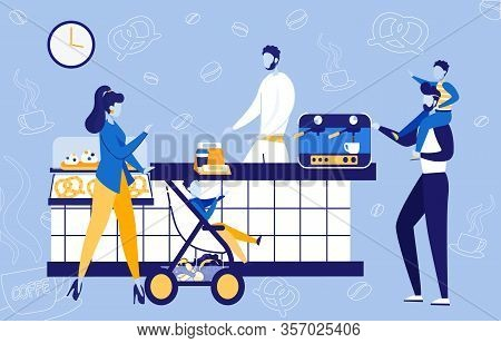 Family Coming To Coffee Shop Or Bakery Flat Cartoon Vector Illustration. Man Holding Son On Shoulder