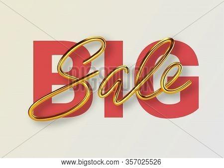 3d Realistic Golden Inscription Shop. Golden Metallic Lettering For Banner Design. Template For Prod