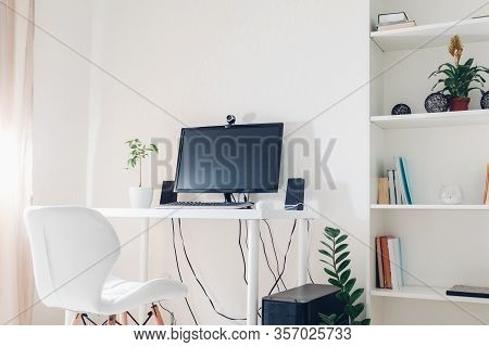 Work From Home During Coromavirus Pandemic. Stay Home. Workspace Of Freelancer. Office Interior With