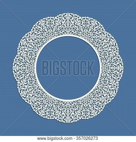 Circle Frame With Ornamental Lace Border, Cutout Paper Pattern, Elegant Template For Laser Cutting,