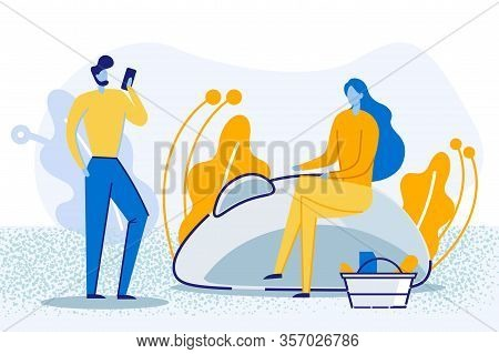 Online Shopping. Young Woman With Products In Shop Cart Sitting On Huge Computer Mouse, Man Ordering