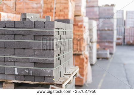Construction Materials. Building Materials For Construction Of Residential Complex. Pile Of White Br