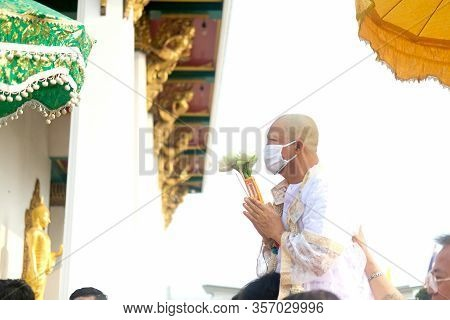 Bangkok, Thailand - Mar 20, 2020:  Thai Males Are Ordained At The Age Of 21 Years Up To Replace The