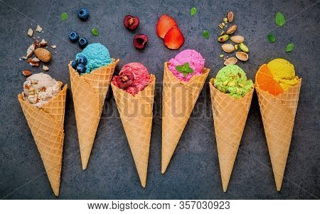 Many Sweet Ice Cream. Berry Ice Cream Cone For Multi Color. Beautiful And Colorful Ice Cream Cone.