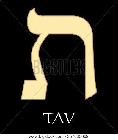 Hebrew Letter Tav, Twenty-second Letter Of Hebrew Alphabet, Meaning Is Eternity, Gold Design On Blac