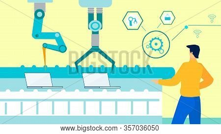 Automated Laptops Production Flat Illustration. Male Engineer Controlling Robotic Arms Cartoon Chara