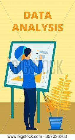 Audit Agency Services Advert Flat Poster Template. Male Finance Expert Standing Near Board. Banker,